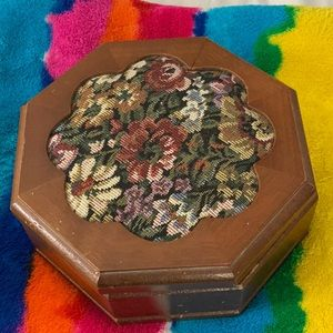 Vintage Jewelry Box With Pin Cushion on Top